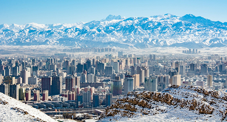 Urumqi mountains and city