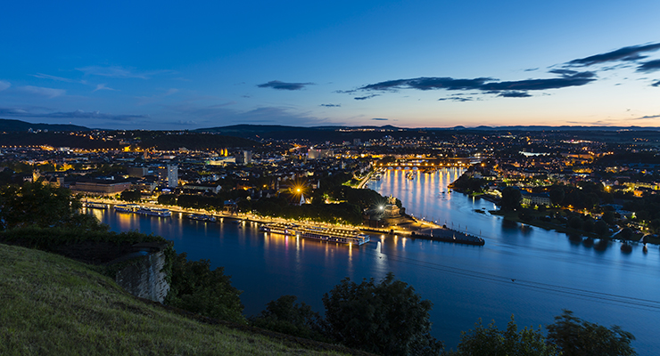 koblenz oldtown and deutsches eck at night PLREZWZ