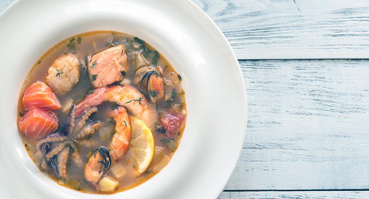 bowl of bouillabaisse mediterranean